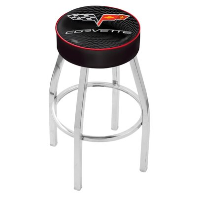 Corvette - C6 25 Swivel Bar Stool Base Finish: Chrome, Upholstery: Black / Red