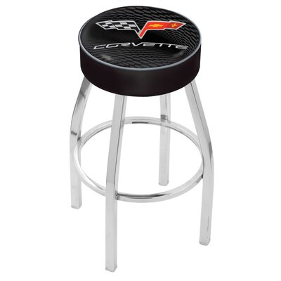 Corvette - C6 30 inch Swivel Bar Stool Base Finish: Chrome, Upholstery: Black / Silver