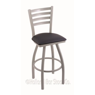 Jackie 36 Swivel Bar Stool Finish: Anodized Nickel, Upholstery: Allante Dark Blue