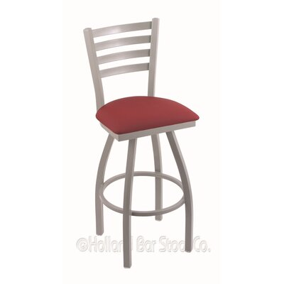 Jackie 36 Swivel Bar Stool Finish: Anodized Nickel, Upholstery: Allante Wine