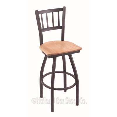 Contessa 25 inch Swivel Bar Stool Upholstery: Natural Oak, Base Finish: Pewter