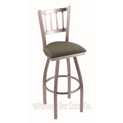 Contessa 30 Swivel Bar Stool Finish: Stainless, Upholstery: Axis Grove
