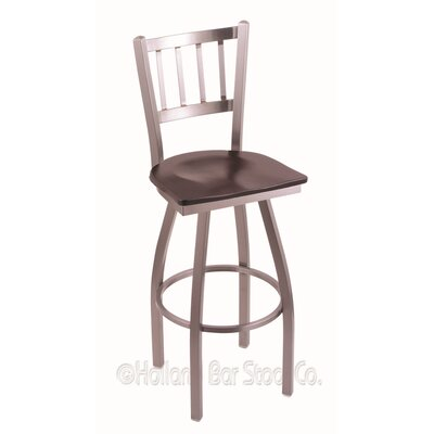 Contessa Swivel Bar Stool Upholstery: Dark Cherry Maple, Base Finish: Stainless