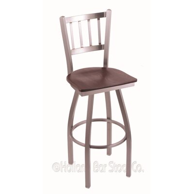 Contessa Swivel Bar Stool Upholstery: Dark Cherry Oak, Base Finish: Stainless