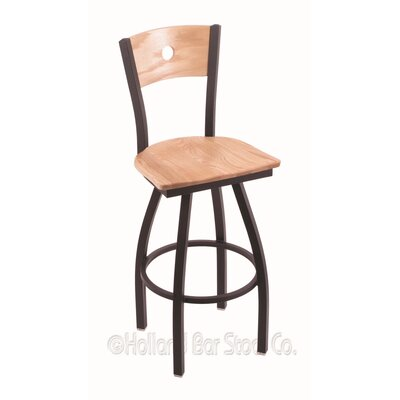Voltaire 25 Swivel Bar Stool Base Finish: Black Wrinkle, Upholstery: Natural Oak
