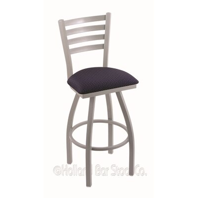 Jackie 25 Swivel Bar Stool Finish: Anodized Nickel, Upholstery: Axis Denim