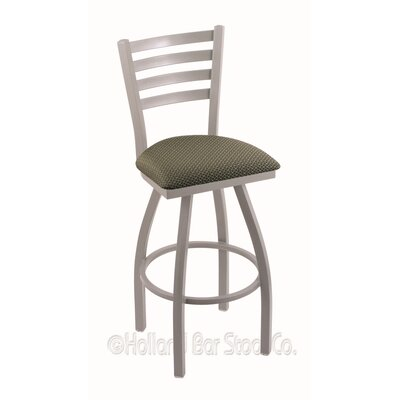 Jackie 25 Swivel Bar Stool Finish: Anodized Nickel, Upholstery: Axis Grove