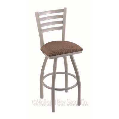 Jackie 30 inch Swivel Bar Stool Finish: Anodized Nickel, Upholstery: Axis Willow