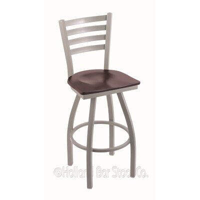 Jackie 25 inch Swivel Bar Stool Upholstery: Dark Cherry Maple, Base Finish: Anodized Nickel