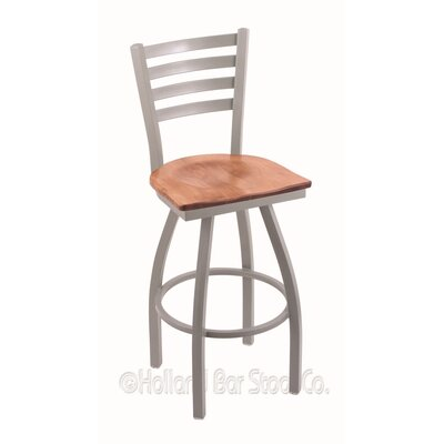 Jackie 36 Swivel Bar Stool Upholstery: Medium Maple, Base Finish: Anodized Nickel