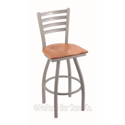 Jackie 25 Swivel Bar Stool Base Finish: Anodized Nickel, Upholstery: Medium Oak