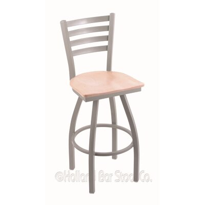 Jackie 30 Swivel Bar Stool Base Finish: Anodized Nickel, Upholstery: Natural Maple