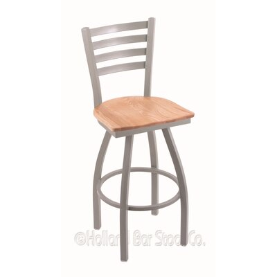 Jackie 25 Swivel Bar Stool Base Finish: Anodized Nickel, Upholstery: Natural Oak