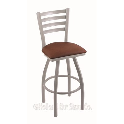 Jackie 36 Swivel Bar Stool Finish: Anodized Nickel, Upholstery: Rein Adobe