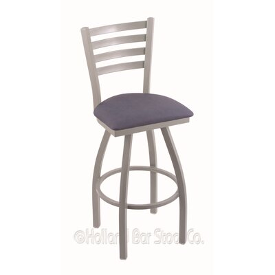Jackie 36 Swivel Bar Stool Finish: Anodized Nickel, Upholstery: Rein Bay