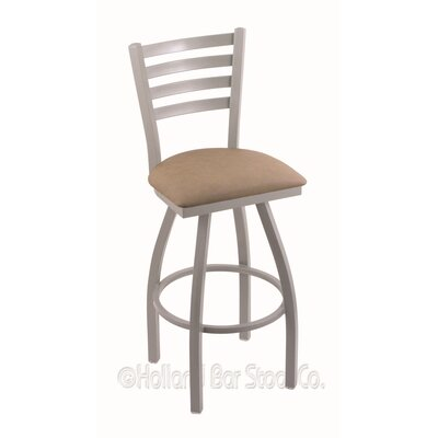 Jackie 36 Swivel Bar Stool Finish: Anodized Nickel, Upholstery: Rein Thatch
