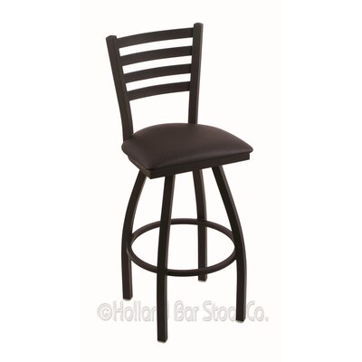 Jackie 36 Swivel Bar Stool Finish: Black Wrinkle, Upholstery: Allante Espresso