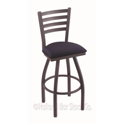 Jackie 25 Swivel Bar Stool Upholstery: Axis Denim, Finish: Pewter