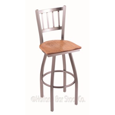 Contessa Swivel Bar Stool Base Finish: Stainless, Upholstery: Medium Oak