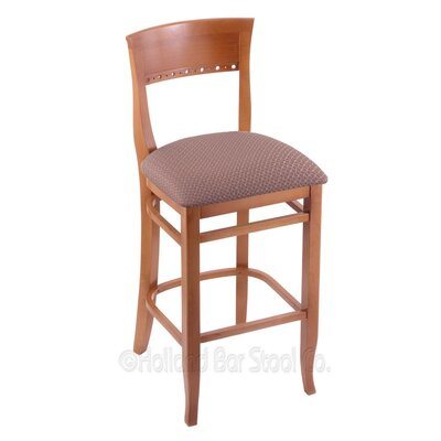 25 Bar Stool Finish: Medium, Upholstery: Axis Willow