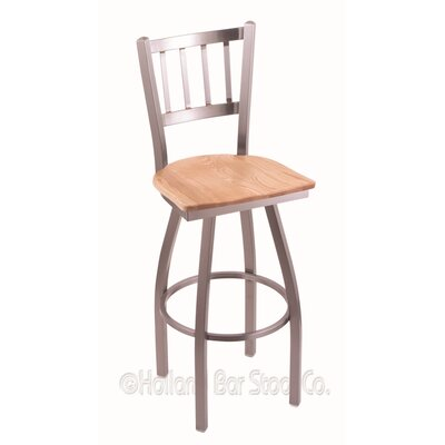 Contessa Swivel Bar Stool Base Finish: Stainless, Upholstery: Natural Oak