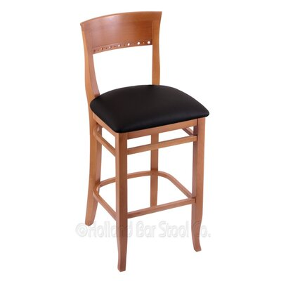 30 Bar Stool Finish: Medium, Upholstery: Black Vinyl