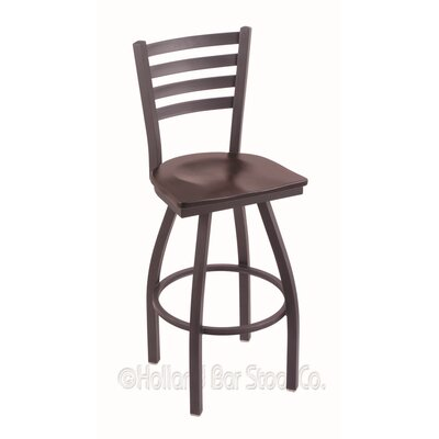 Jackie 30 Swivel Bar Stool Upholstery: Dark Cherry Maple, Base Finish: Pewter