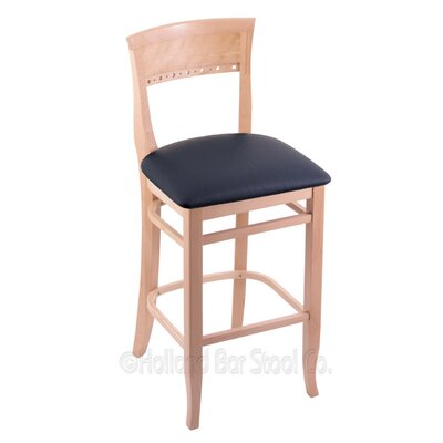 25 Bar Stool Finish: Natural, Upholstery: Allante Dark Blue