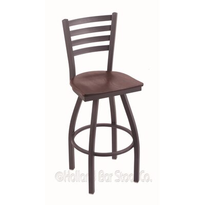 Jackie 25 Swivel Bar Stool Upholstery: Dark Cherry Oak, Base Finish: Pewter