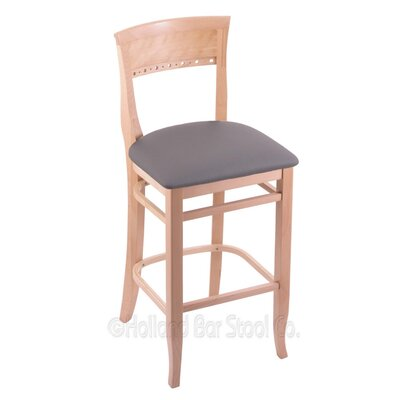 25 Bar Stool Finish: Natural, Upholstery: Allante Medium Grey