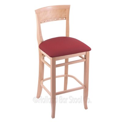 25 inch Bar Stool Finish: Natural, Upholstery: Allante Wine