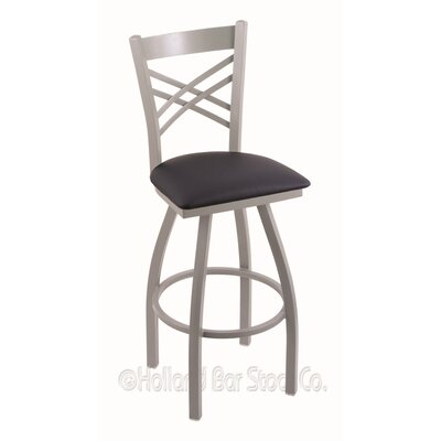 Catalina 36 Swivel Bar Stool Finish: Anodized Nickel, Upholstery: Allante Dark Blue