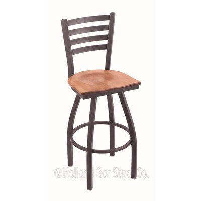 Jackie 36 Swivel Bar Stool Upholstery: Medium Maple, Base Finish: Pewter