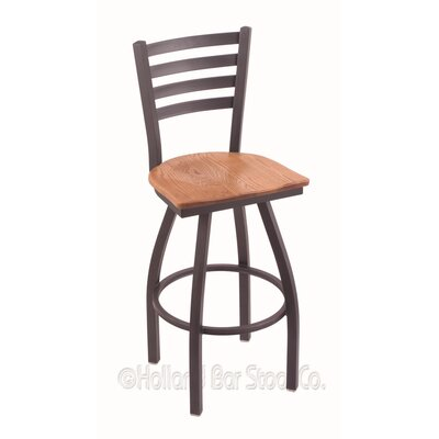 Jackie 25 Swivel Bar Stool Base Finish: Pewter, Upholstery: Medium Oak