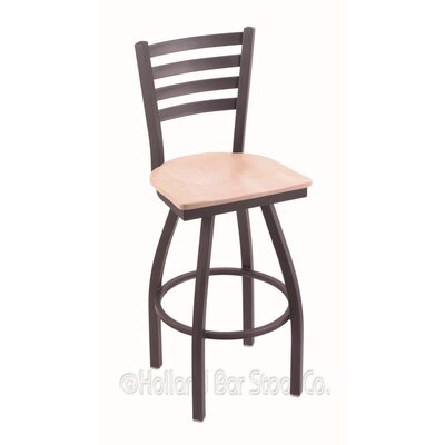 Jackie 30 Swivel Bar Stool Base Finish: Pewter, Upholstery: Natural Maple