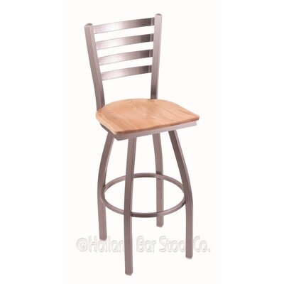 Jackie 25 Swivel Bar Stool Base Finish: Stainless, Upholstery: Natural Oak