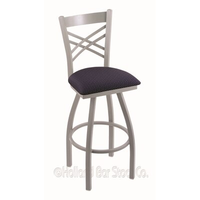 Catalina 36 Swivel Bar Stool Finish: Anodized Nickel, Upholstery: Axis Denim