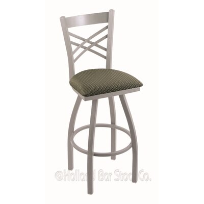 Catalina 25 Swivel Bar Stool Finish: Anodized Nickel, Upholstery: Axis Grove