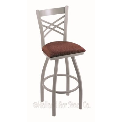 Catalina 25 Swivel Bar Stool Finish: Anodized Nickel, Upholstery: Axis Paprika