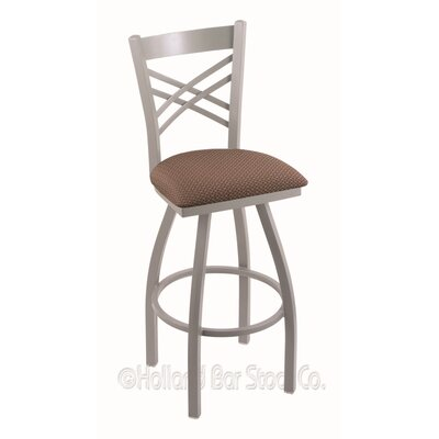 Catalina 25 Swivel Bar Stool Finish: Anodized Nickel, Upholstery: Axis Willow
