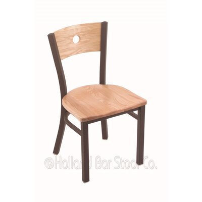 Voltaire Solid Wood Dining Chair Base Finish: Bronze, Upholstery: Natural Oak