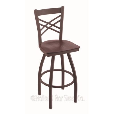 Catalina 30 inch Swivel Bar Stool Upholstery: Dark Cherry Oak, Base Finish: Bronze