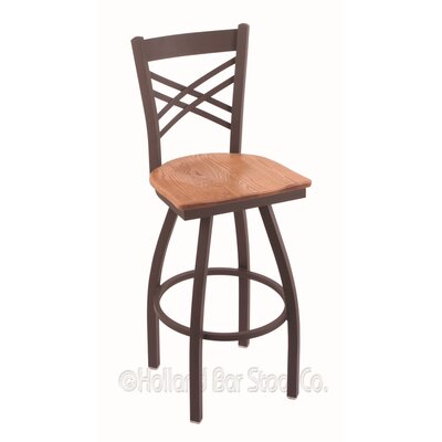 Catalina 30 Swivel Bar Stool Base Finish: Bronze, Upholstery: Medium Oak