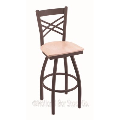 Catalina 30 Swivel Bar Stool Base Finish: Bronze, Upholstery: Natural Maple