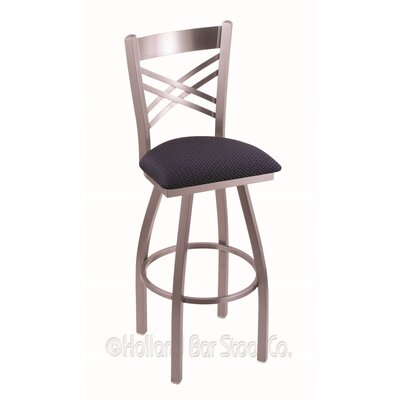 Catalina 25 Swivel Bar Stool Finish: Stainless, Upholstery: Axis Denim