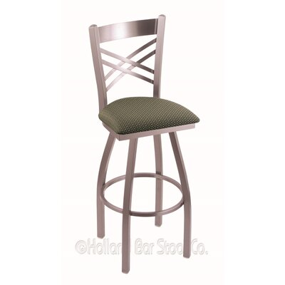 Catalina 25 Swivel Bar Stool Finish: Stainless, Upholstery: Axis Grove