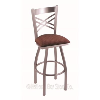 Catalina 25 Swivel Bar Stool Finish: Stainless, Upholstery: Axis Paprika