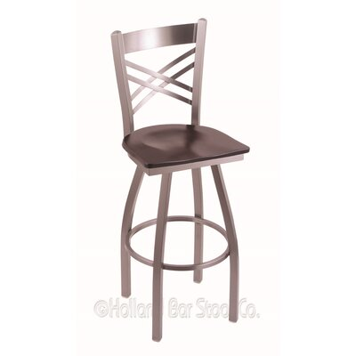 Catalina 30 Swivel Bar Stool Base Finish: Stainless, Upholstery: Dark Cherry Maple