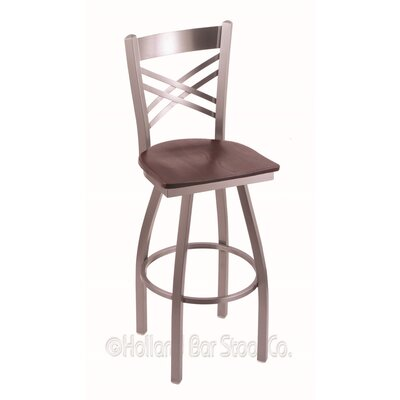 Catalina 36 inch Swivel Bar Stool Upholstery: Dark Cherry Oak, Base Finish: Stainless