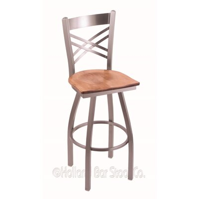 Catalina 30 Swivel Bar Stool Base Finish: Stainless, Upholstery: Medium Maple